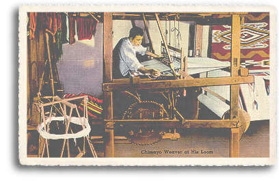 A vintage postcard depicts a Spanish (Hispanic) weaver at his loom in Chimayo, New Mexico. This is part of the long-standing tradition of Spanish Market, held annually in downtown Santa Fe, New Mexico.
